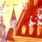 Гуси остановились на крыше городской ратуши.